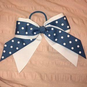 Accessories - Girls blue & white polka dot hair bow